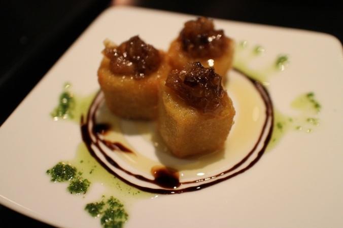 Pintxo de Queso Frito: fried gruyere, honey, caramelized onions