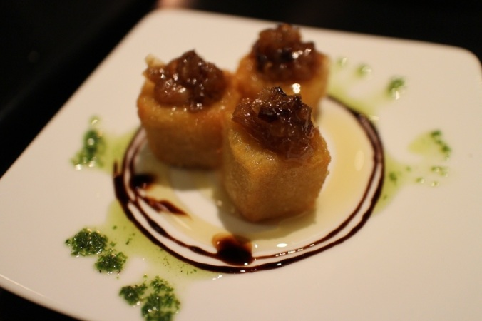 Pintxo de Queso Frito: fried gruyere, honey, caramelized onions