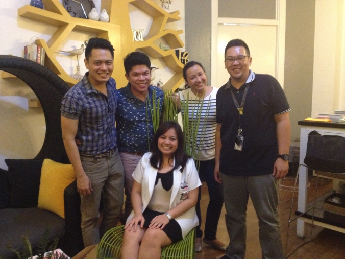 Ge + Maan with their wedding coordinator (Jody Liwanag), details diva (Ernest Pascual) and stylist (Teddy Manuel) on one of their evening meetings.